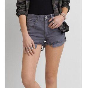 AEO high Rise Grey distressed jean shorts